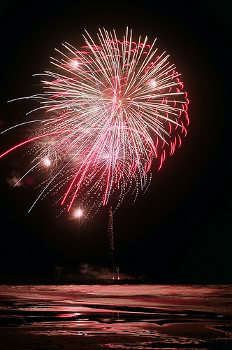 Emerald Isle Fireworks launched from the Bogue Inlet Pier in 2008